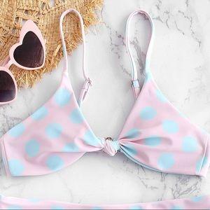 Polka Dot Knotted Bikini Top
